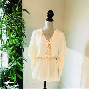 NWT Michael Kors Cream Blouse Top Gold Chain Tie